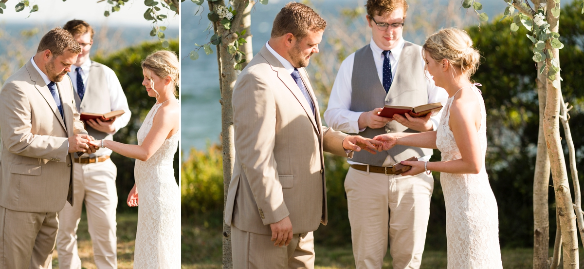 Maine wedding photographer, New England wedding, Maine destination wedding, searsport Maine, ocean wedding, boho wedding, diy wedding, Portside manor, ocean view wedding, small wedding, ring exchange