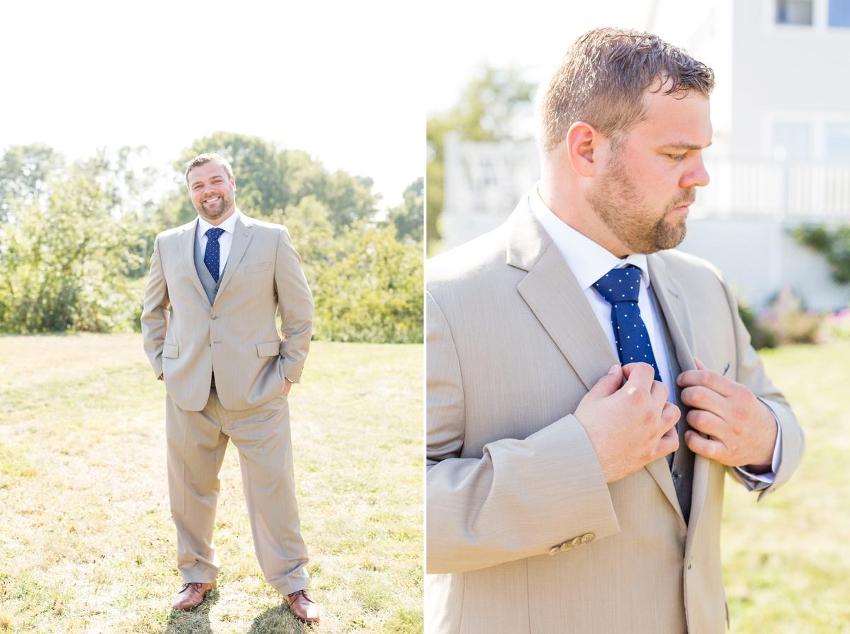 Maine wedding photographer, New England wedding, Maine destination wedding, searsport Maine, ocean wedding, boho wedding, diy wedding, Portside manor, tan suit, blue tie, groom portraits
