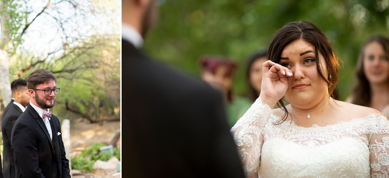 Phoenix zoo wedding, phoenix wedding photographer, arizona destination wedding, wedding in phoenix, intimate wedding inspiration, green wedding, small wedding, desert grove wedding, bride crying, candid wedding photography