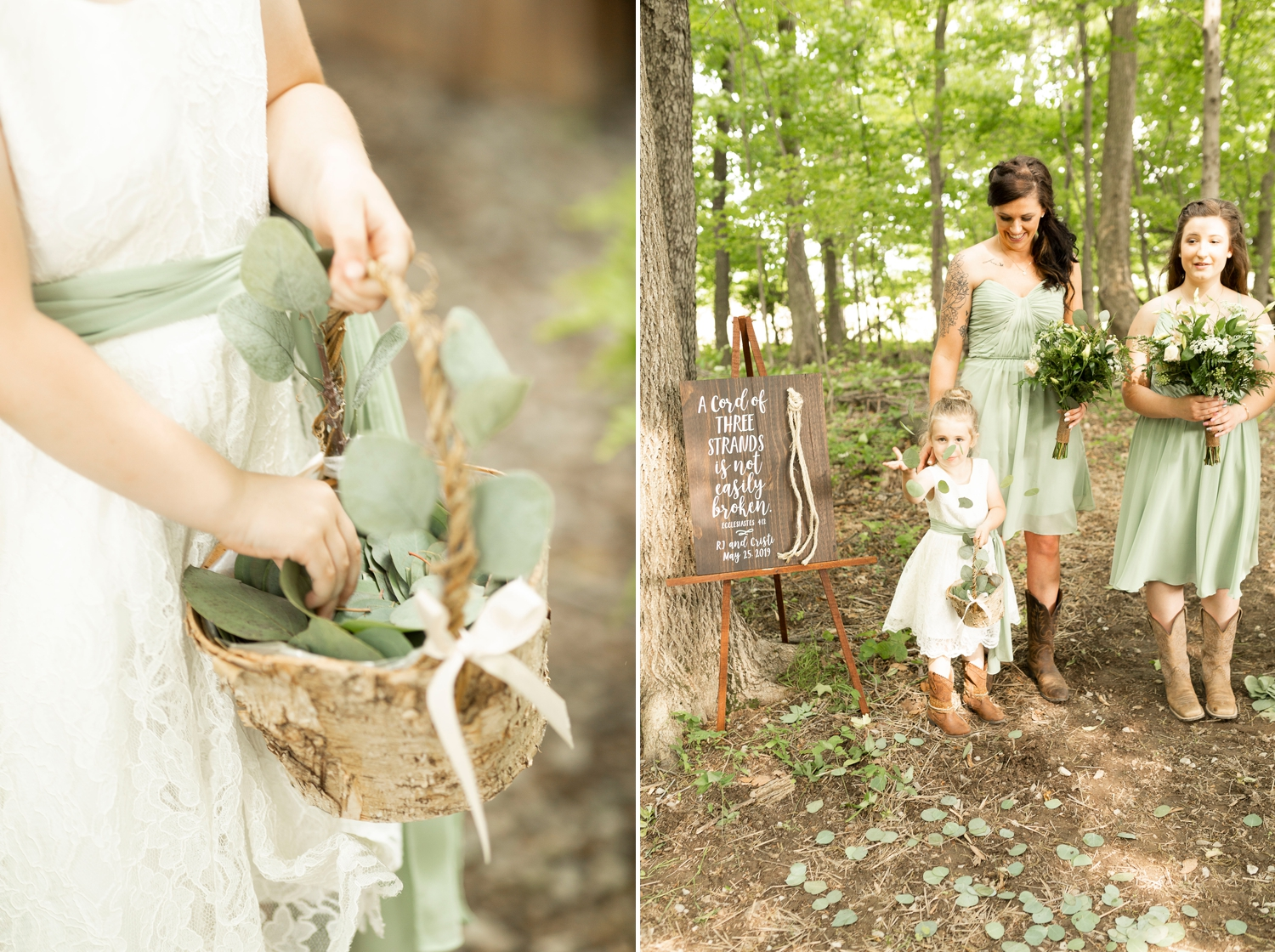 flower girl petals, wedding greenery, Barn at the backwoods, rustic wedding venues, thornville wedding, rustic wedding inspiration, Columbus wedding photographer, columbus wedding photography, country wedding, backwoods wedding, summer wedding, wedding ceremony