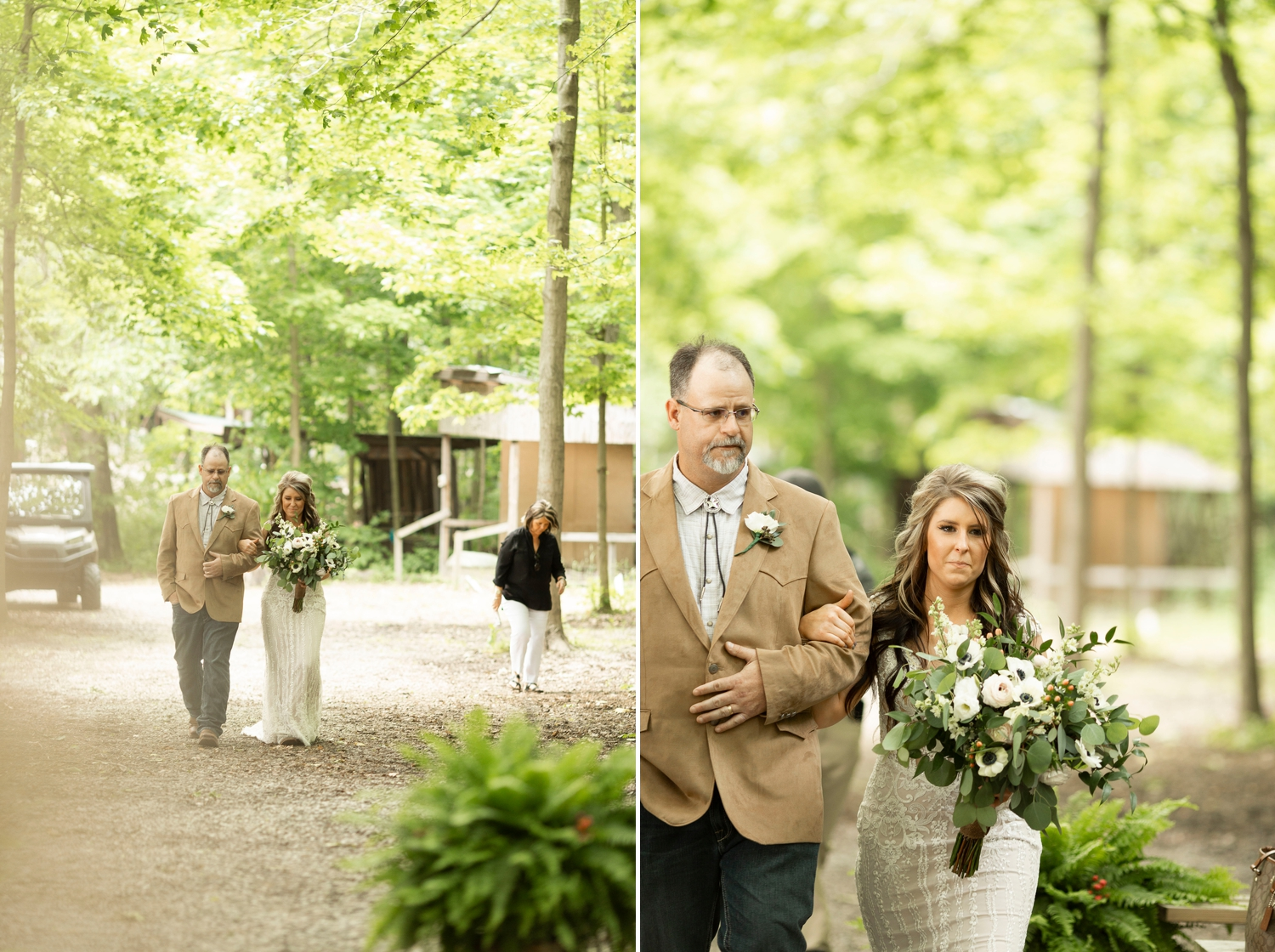 The Flowerman, bride walking down aisle, wedding ceremony, forest ceremony, wedding in forest, Barn at the backwoods, rustic wedding venues, thornville wedding, rustic wedding inspiration, Columbus wedding photographer, columbus wedding photography, country wedding, backwoods wedding, summer wedding