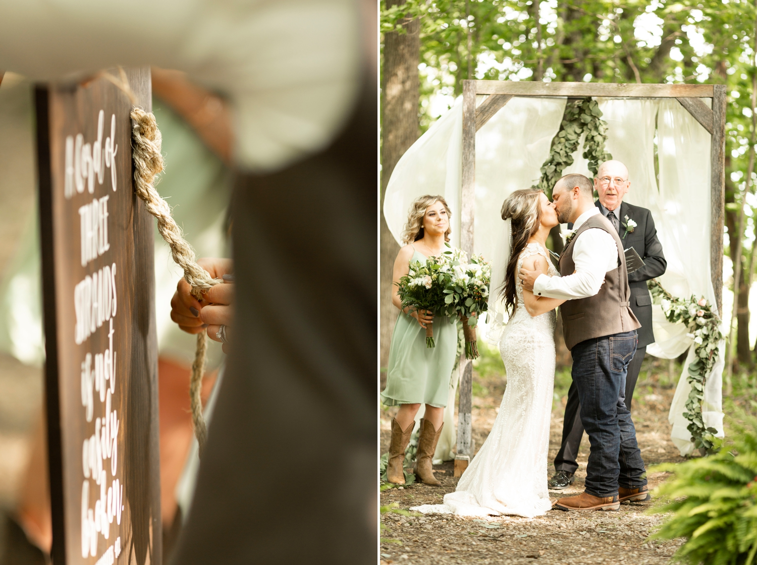 three cords ceremony, three cords, cord of three strands sign, Barn at the backwoods, rustic wedding venues, thornville wedding, rustic wedding inspiration, Columbus wedding photographer, columbus wedding photography, country wedding, backwoods wedding, summer wedding, first kiss