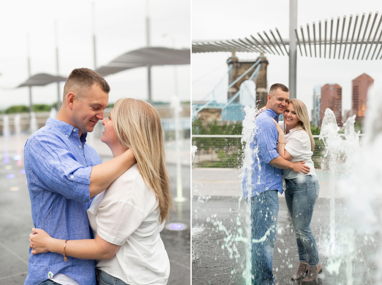 splash pad engagement photos, roebling bridge, engagement session, downtown Cincinnati, Cincinnati engagement session, engagement photos, spring engagement photos, roebling bridge photos, downtown Cincinnati engagement photos, Cincinnati engagement photographer, ohio engagement photos