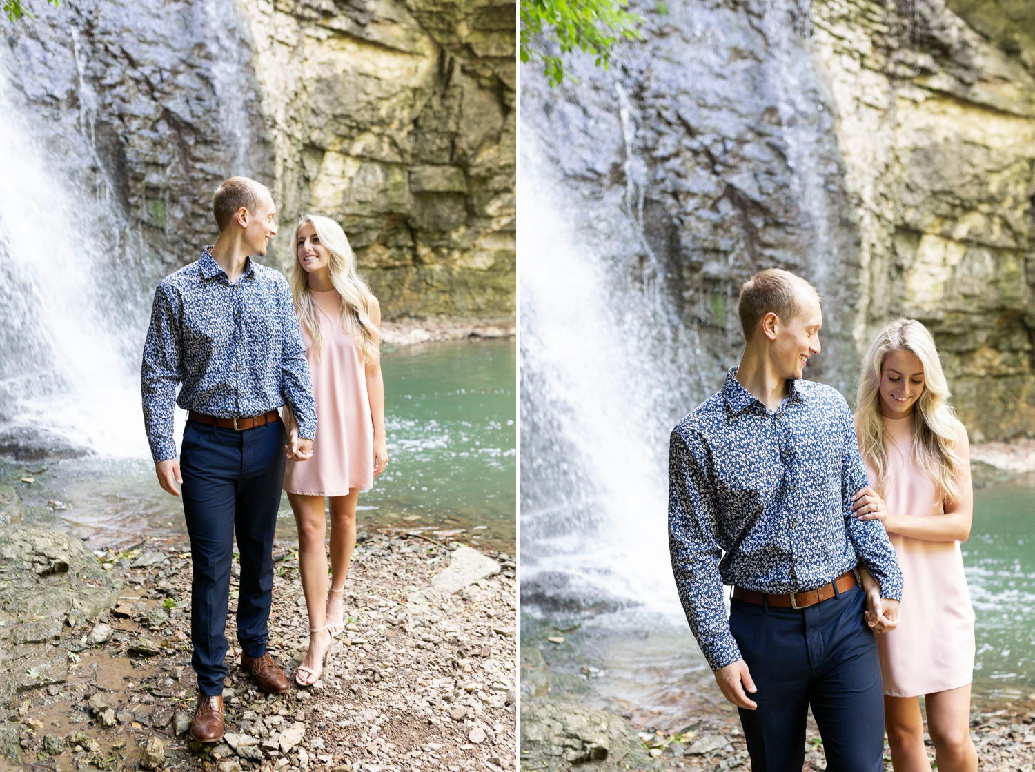 engagement ring, pink dress, preppy outfit ideas, Creek engagement photos, Ohio engagement photos, Dublin Ohio, Dublin engagement session, Columbus engagement session, Columbus engagement photos, outdoor engagement photos, Ohio wedding photographer, Columbus wedding photographer, engagement photo ideas, summer engagement photos, engagement outfit ideas, engagement photos, outdoor engagement photos, candid photos, Wright State University, college sweethearts, adventure engagement photos
