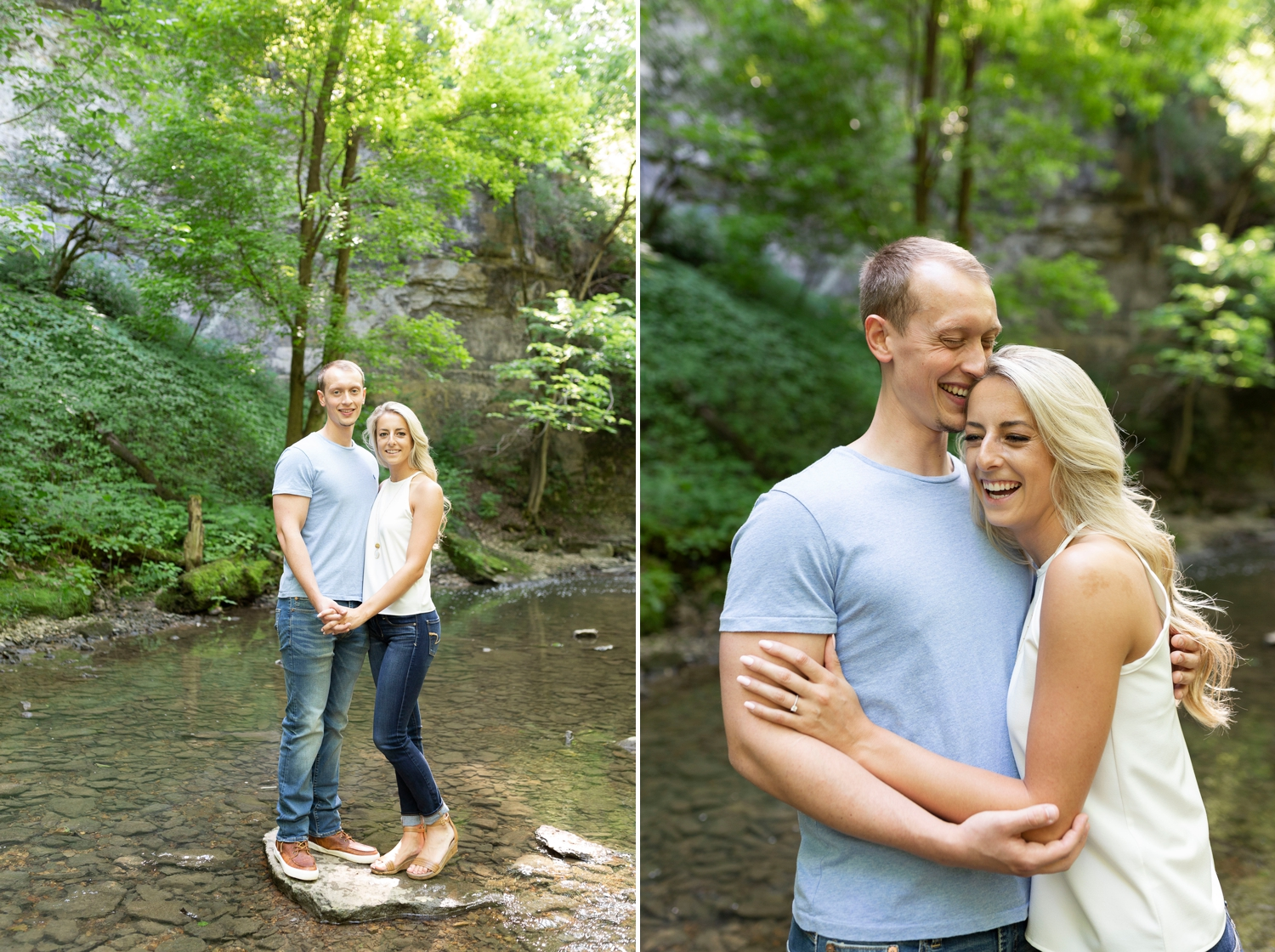 Creek engagement photos, Ohio engagement photos, Dublin Ohio, Dublin engagement session, Columbus engagement session, Columbus engagement photos, outdoor engagement photos, Ohio wedding photographer, Columbus wedding photographer, engagement photo ideas, summer engagement photos, engagement outfit ideas, engagement photos, outdoor engagement photos, engagement photo ideas, Wright State University, college sweethearts, adventure engagement photos