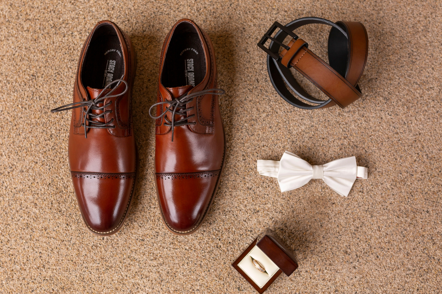 brown shoes, white bowtie, groom details, wedding ring, brown belt, Superstition Manor, Superstition Wedding, Spring Wedding Inspiration, Arizona Destination Wedding, Arizona Wedding Photographer, Mesa Wedding Venues, Destination Wedding, Superstition Springs, getting ready photos